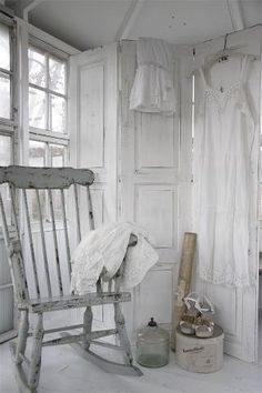 Shabby Chic ~ Looks like a room from another time doesn't it. but look at the shoes! a very vintage shabby look has been achieved here, lovely! Decor, Room, Shabby, White Decor, Chic Home, Chic Decor, Home Decor, Shabby Cottage, Shabby Chic Bedrooms