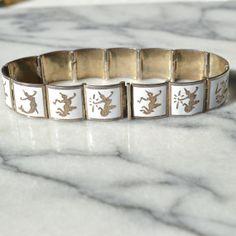 Vintage Siam Sterling Silver Niello Panelled Bracelet - Thai Goddesses - White by TeaJay, Vintage  Jewelry  Bracelet  Siam  Thailand  Sterling  Silver  Niello  Nielloware  White  Goddesses  Dancers  Bracelet Panelled  UK  ATCTteam