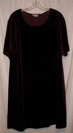 DBS COLLECTION Burgundy Velour SS Dress 3X HOL99 #DBSCollection #Tunic #WeartoWork