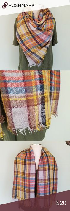 "Oversized Tartan Blanket Scarf Plaid Oversized & super cozy! Plaid Blanket Scarf.  Multi-color - orange, tan, yellow, gray, black, blue. Fringe edges. Square - 55"" x 55"" Excellent condition! So many ways to wear it! Accessories Scarves & Wraps"