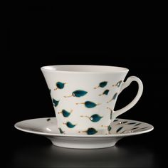 Hand-painted artistic cups Blue ReminiscenceUnique gift idea