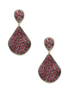 love!   Ruby & Diamond Wavy Teardrop Earrings