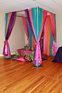 Kayla's bollywood birthday | CatchMyParty.com Bollywood Party Decorations, Bollywood Theme, Stage Decorations, Wedding Decorations, Wedding Ideas, Arabian Theme, Arabian Party, Aladdin Birthday Party, Aladdin Party