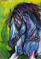 The Blue Horse On Green Background by Angel  Tarantella