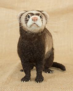 Jason the Ferret: Needle felted animal sculpture by The Woolen Wagon