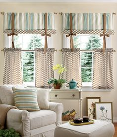 Curtain idea for the bathroom, do with a valance over the top of the tie up valance
