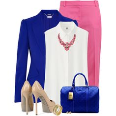 Bright Pink Pants & a Blazer by daiscat on Polyvore featuring Uniqlo, Alexander McQueen, Diane Von Furstenberg, Sergio Rossi, SHOUROUK, Lee Angel Jewelry, Tiffany & Co. and Gucci