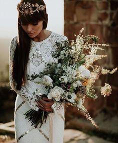 Dress ➕ Bouquet ➕ Image   Via @greenweddingshoes | image @emily.magers | dress @ruedeseinebridal | Bouquet @revelpetals ✨✨