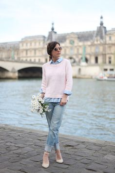 Blogger Audrey takes inspiration from her floral bouquet in a Gap marled sweater and real straight denim.