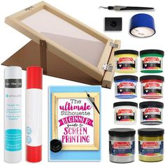 Silhouette Cameo Screen Printing Bundle with Extra Paints and 10 Inch x 14 Inch Screen with Base