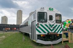 GO Transit's anniversary was celebrated yesterday at Roundhouse Park in Downtown Toronto, where a fully restored 1967 GO Cab Car was unveiled as a new attraction at the Toronto Railway Museum. Go Cab, Go Transit, Via Rail, Canadian National Railway, Railway Museum, Downtown Toronto, Union Station, Train Journey, Diesel Locomotive