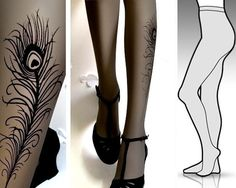 Large/ Extra Large gorgeous PEACOCK FEATHER tattoo tights / stockings / full length / pantyhose / nylons GREY
