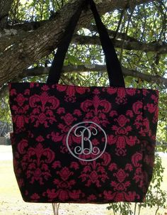 Monogrammed Black and Fuchsia Vintage Damask Over Sized Tote | The Old Bag's Bags