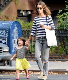 Dressing like mom: Actress Keri Russell took her little girl Willa out in New York on Tuesday