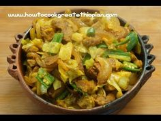 ▶ Ethiopian Food - Beef & Cabbage Alicha Tibs Recipe - Amharic English - Injera Wot Berbere Kitfo - YouTube