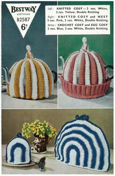 1950's knitted and crochet tea pot cosy pattern.