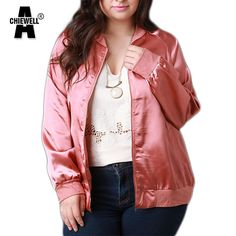 ACHIEWEILL Plus Size Autumn Women Pink Jacket Coat Imitation Silk Long Sleeve Smooth Women Coat  6XL Outwear #Affiliate