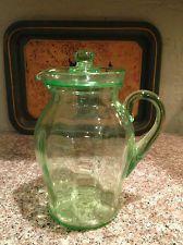 Vintage  Green Depression Glass Lemonade Water Pitcher w / Lid