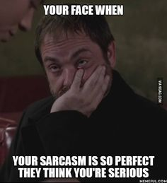 Your face when your sarcasm is so perfect they think you're serious.