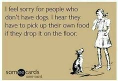 I feel sorry for people who don't have dogs. Dogs rules, - ecard