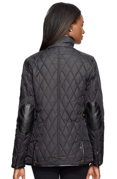 Lauren Ralph Lauren Faux Leather Trim Quilted Jacket (Regular & Petite)   Nordstrom