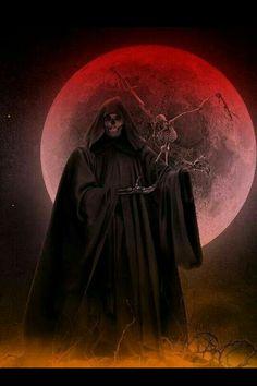 Reaper in a Blood moon Grim Reaper Art, Don't Fear The Reaper, Angel And Devil, Angel Of Death, Arte Horror, Horror Art, Dark Fantasy Art, Dark Art, Monster Pictures
