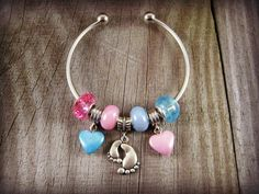 Feet Charm Bracelet Cuff Bracelet with Mixed Style Euro Beads on a European Style Cuff Bracelet w Pink and Blue Beads Jewelry Silver #gifts4her #etsyfinds