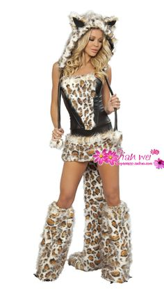 df2c9f0b9e9bd Sexy Leopard Catsuit Dress Adult Wolf Wth Tail Costume for Women Halloween  Discount Fur Animal Costumes Sexy Cosplay