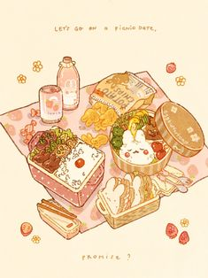 Arte Do Kawaii, Kawaii Art, Cute Food Drawings, Kawaii Drawings, Cute Food Art, Cute Art, Food Sketch, Food Cartoon, Picnic Date