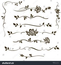 Vector set of decorative calligraphic elements, floral dividers, ornaments with rose silhouettes and leaves for wedding invitation design and page decor. Back Tattoos, Mini Tattoos, Flower Tattoos, Small Tattoos, Pencil Art Drawings, Easy Drawings, Danty Tattoos, Custom Sketchbook, Flower Drawing Tutorials
