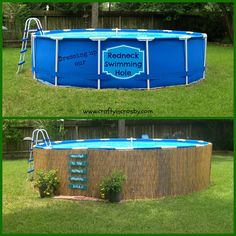 We dressed up our above ground pool with reed fencing and an easy to make pallet sign ~ Crafty In Crosby