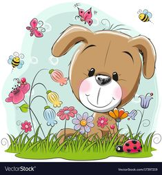 Cute Cartoon Puppy on a meadow. Cute Cartoon Puppy girl on a meadow with flowers and butterflies royalty free illustration Kitten Cartoon, Cartoon Monkey, Fruit Cartoon, Cartoon Elephant, Cute Cartoon Faces, Cute Cartoon Girl, Cute Cartoon Animals, Dog Drawing Images, Disney Cartoon Characters