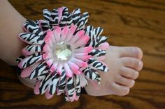 Pair of Pink Barefoot Sandals with Zebra Daisy by BellaBumbleBee, $13.95
