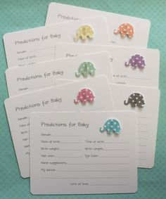 Polka Dots Prediction Cards  Elephant Baby Shower by AzureHaven, $10.00