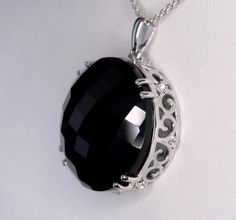 46.12ct Genuine Black Onyx with White Topaz 925 Solid Sterling Silver Pendant.  Genuine Earth Mined Gemstones!  Not Lab Created!  Visit my eBay store for more beautiful genuine gemstone jewelry!  http://stores.ebay.com/hm-fine-jewelry-and-more