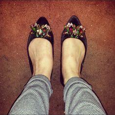 schuh Crush black embellished pointed flats @angelinamaryhardytaylor