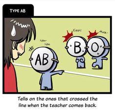 Pre-school pt.1 Blood Type Personality, Blood Types, Pre School, Comebacks, Qoutes, Psychology, Family Guy, Teacher, Comics