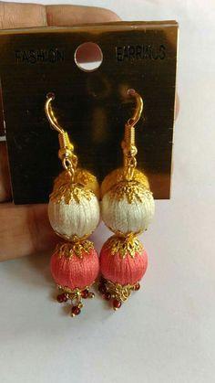 Silk Thread Earrings Designs, Silk Thread Bangles Design, Silk Thread Necklace, Thread Jewellery, Paper Jewelry, Jewellery Designs, Beaded Earrings, Beaded Jewelry, Stud Earrings