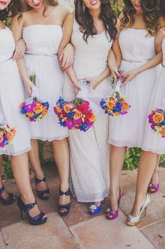 Photo: Cozbi Jean Photography via Norstrom Blog; brilliantly colorful bridesmaid bouquets