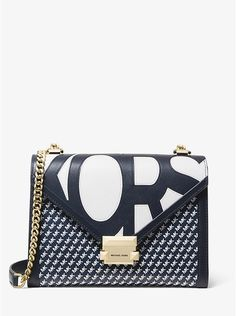 65e5e6dead10 MICHAEL KORS Whitney Large Graphic Logo Convertible Shoulder Bag in Navy ~ Today s  Fashion Item