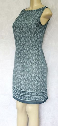 Old Navy Dress Paisley Floral Sleeveless Lined Blue Gray 4 Small Work Above Knee #OldNavy #Sheath #WeartoWork
