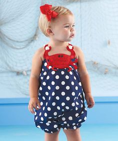 Love this Mud Pie Blue & Red Crab Polka Dot Bubble Romper - Infant by Mud Pie on #zulily! #zulilyfinds
