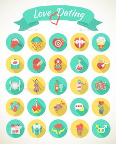 Round Love and Dating Flat Icons with Long Shadows (Abstract)