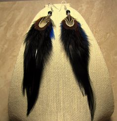 Rooster and Pheasant Feather Earrings  Long by peacefrogdesigns, $18.00