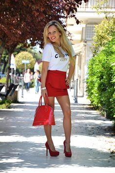 Sheinside Céline t-shirt and Zara peplum skirt - outfit fashion blogger ss2013 It-Girl by Eleonora Petrella