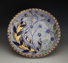 Liz Quackenbush, Large Low Bowl,2014, terracotta, majolica glaze, gold luster, hand built, cone 04, 14x14x4''