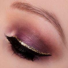 Purple makeup with gold liner. IG: @makeupbyeline