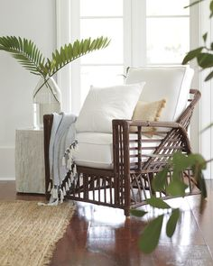 🌟Tante S!fr@ loves this📌🌟 This sculpted rattan chair brings a beachy feel wherever it goes. Pair it with a coastal side table to make you feel poolside in you own living room. New Furniture, Living Room Furniture, Living Room Decor, Wicker Furniture, Furniture Ideas, Outdoor Furniture, Outdoor Decor, Living Room Designs, Living Spaces