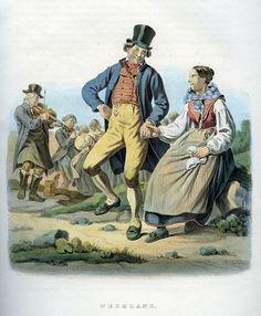 Folkdräkter från Värmland, Sverige. Plansch ur Svenska folkets seder, bruk och klädedrägter (1863) tecknad av Carl Anders Dahlström.