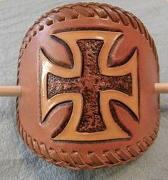 Hand Tooled Leather Barrette with Maltese Cross by SouthPawArt...MXS...$21.84